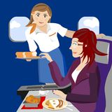 Air hostess on plane. Illustration of an air hostess on a plane offering some bread to a female passenger. Eps file is available Stock Images