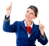 Air hostess pointing destinations Stock Photo