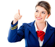 Air hostess pointing with finger Royalty Free Stock Image