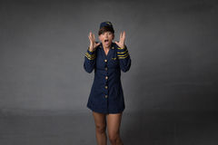 Air hostess screaming stock photos