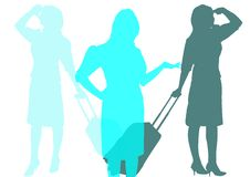 Air hostess silhouettes in range of blues. White background Stock Image