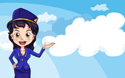 An air hostess in the sky. Illustration of an air hostess in the sky Stock Images