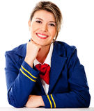Air hostess smiling Royalty Free Stock Photography