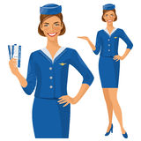 Air hostess. Stewardess holding ticket in her hand. Woman in official clothes Royalty Free Stock Photo
