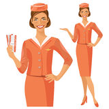 Air hostess. Stewardess holding ticket in her hand. Woman in official clothes. Air hostess. Stewardess holding ticket in her hand Stock Images
