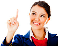 Air hostess touching with finger Royalty Free Stock Photos