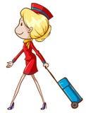 An air hostess with a trolley Stock Photos