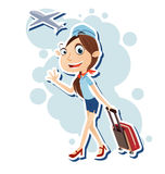 Air hostess. Vector illustration of beautiful air hostess walking with travel bag Stock Images