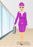 Air hostess walking with flight case over white background Stock Images