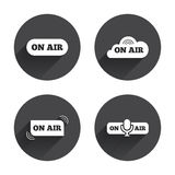 On air icons. Live stream signs. Microphone Royalty Free Stock Photo