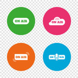 On air icons. Live stream signs. Microphone. Royalty Free Stock Image