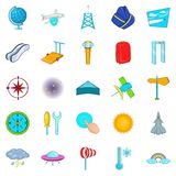 Air icons set, cartoon style. Air icons set. Cartoon set of 25 air vector icons for web isolated on white background Royalty Free Stock Photos