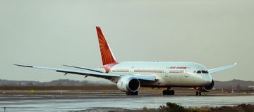 Air India Boeing 787 Dreamliner jet. On the runway Stock Photography
