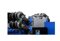 Air intakes of the generator set for power plant on the white. Air intakes with inhaler on the top of the gas turbine engine and a power generator mounted on a royalty free stock photography
