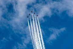 Air jets in the sky Royalty Free Stock Photo