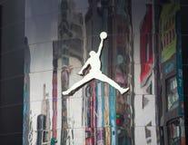 Air Jordan brand `Jumpman` logo on building at Ximending Youth Shopping District. TAIPEI, TAIWAN - March 11, 2019: Air Jordan brand `Jumpman` logo on building royalty free stock photo