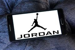 Air Jordan brand logo. Logo of Air Jordan brand on samsung mobile. Air Jordan is a brand of basketball footwear and athletic clothing produced by Nike. It was stock photo