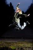 Air jumping at night Royalty Free Stock Images