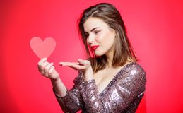Air kiss. Love you so much. Woman attractive kiss face send love to you. Valentines day and romantic mood. Tender kiss. From lovely girl with makeup red lips stock photos