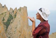 Air kiss to mountains Stock Image