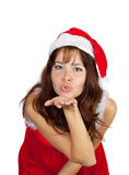 Air-kissing   girl in christmas costume Stock Photo
