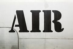 Air label on aircraft Royalty Free Stock Photo