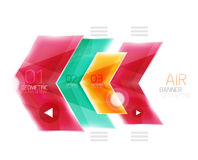 Air light glossy design of arrows. Web info box or ui menu element Stock Photography