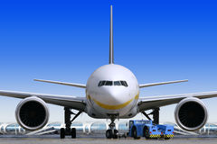Air liner at the airport Stock Image