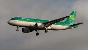 Air Lingus Airlines Airbus A320. Landing at London Heathrow Airport stock image