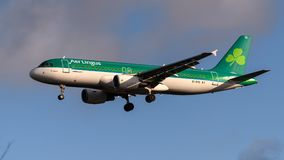 Air Lingus Airlines Airbus A320. Landing at London Heathrow Airport stock photos