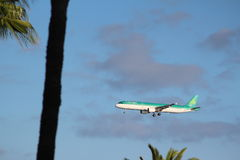 Air Lingus final approach to Arricife Stock Photography