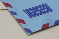 Air Mail. Closeup of an envelope for air mail Stock Image