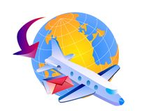 Air mail around the world. Air mail icon on white background Stock Images