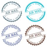 Air-mail badge isolated on white background. Flat style round label with text. Circular emblem vector illustration Royalty Free Stock Photo
