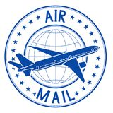 Air mail blue emblem. Postal ink stamp. Vector illustration isolated on white background Royalty Free Stock Photo