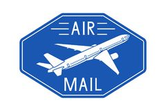 Air mail blue postal sticker or emblem. Vector illustration isolated on white background Royalty Free Stock Photography