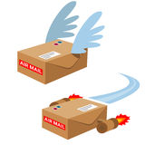 Air mail. Boxes with wings and jets.Design elements in vector Royalty Free Stock Photography