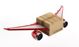 Air mail. Concept with cardboard having wings and jet engines Royalty Free Stock Photography