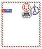 Air mail envelope. And postage stamps from London, Paris and Rome Royalty Free Stock Photo
