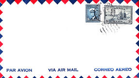Air Mail Envelope Canada 1949 with Stamps Royalty Free Stock Image