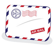 Air mail envelope. A cartoon representing a retro red and blue air mail envelope - fast delivery concept vector illustration