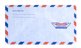 Air mail envelope, isolated. Air mail letter or envelope with clipping path Royalty Free Stock Image