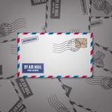 Air mail envelope with postal stamp Royalty Free Stock Photography