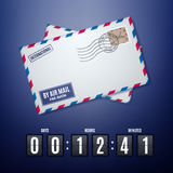 Air mail envelope with postal stamp and flip countdown timer Stock Photos