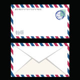 Air mail envelope with postal stamp isolated Stock Photos