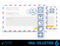 Air mail envelope with postal stamp isolated on Stock Images