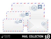 Air mail envelope with postal stamp isolated on Stock Image