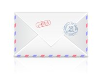 Air mail envelope with postal stamp isolated on Royalty Free Stock Images