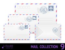 Air mail envelope with postal stamp isolated on Royalty Free Stock Photography