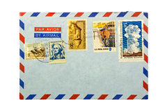 Air mail envelope with stamps Royalty Free Stock Images